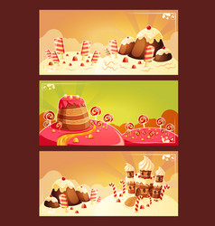 set cartoon banners with a sweet landscape vector image