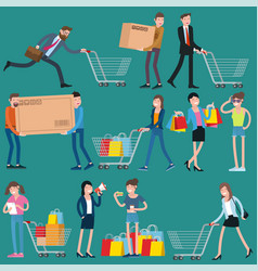shopping people icons vector image
