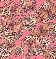 Sketch mothand shell in vintage style vector image