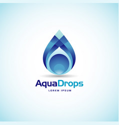abstract aqua drops logo sign symbol icon vector image