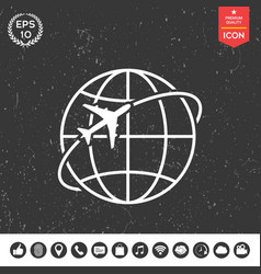 airplane fly around the planet earth logo icon vector image