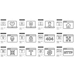 Application line icon set vector image