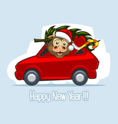 Baby bull in santa claus clothes in a red car vector