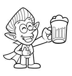 Black and white dracula mascot is holding a beer vector