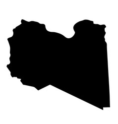 Black silhouette country borders map of libya on vector