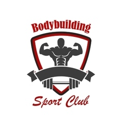 Bodybuilding sport club emblem vector image