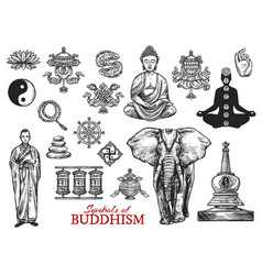 Buddhism religion symbols sketch icons vector