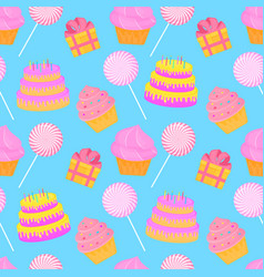 cake candy gift seamless pattern of sweets for vector image