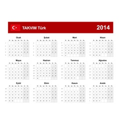 Calendar 2014 Turkey Type 9 vector image