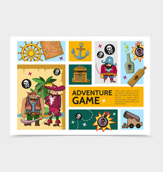 cartoon adventure game infographic template vector image