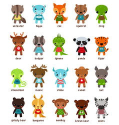 cartton smiling animal kids vector image