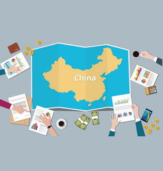 china country growth nation team discuss with vector image