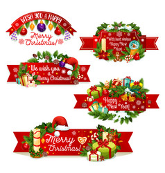 christmas new year greeting ribbon icons vector image