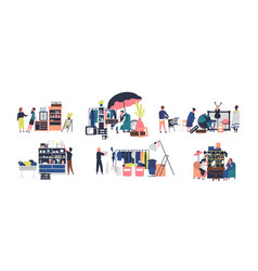 collection of sellers and counters of flea market vector image