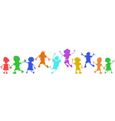 Colorful doodle happy kids in a row vector
