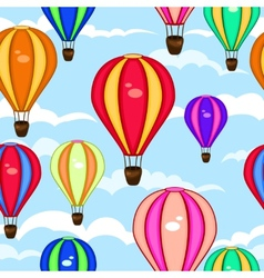 colorful seamless pattern hot air balloons vector image