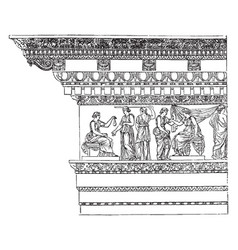 Corinthian entablature from the nerva at rome vector