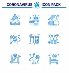 Coronavirus prevention 25 icon set blue test tear vector