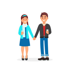 Couple in love standing holding hands vector