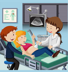Couple meet doctor for ultrasound vector
