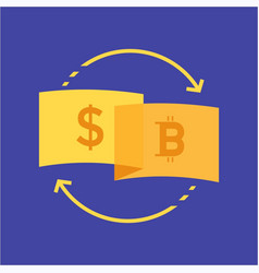currency dollar to bitcoin logo design vector image