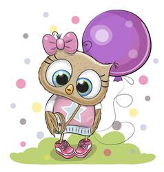 cute cartoon owl with balloon vector image