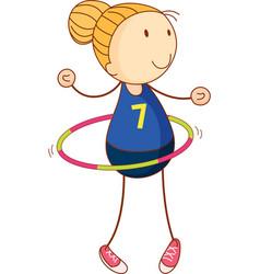 Cute girl playing hula hoop cartoon character vector