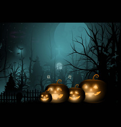 dark cute halloween pumpkins and big moon vector image