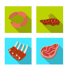Design of meat and ham logo set of meat vector