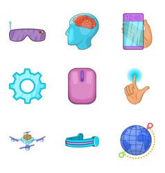 Digital era icons set cartoon style vector