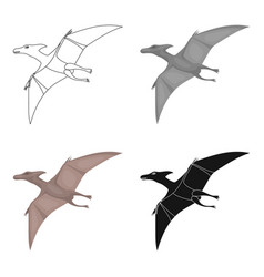 Dinosaur pterodactyloidea icon in cartoon style vector