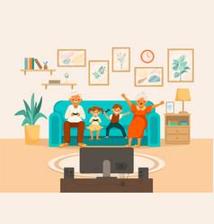 Elderly people happy life cartoon composition vector