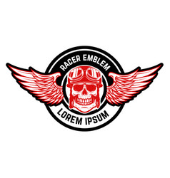 emblem template with biker skull and wings design vector image