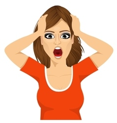 emotionally stressed woman grabbing her head vector image vector image