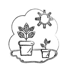 Figure plants inside of flowerpot with sunny vector