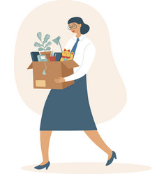 Fired woman carrying box with her belongings vector