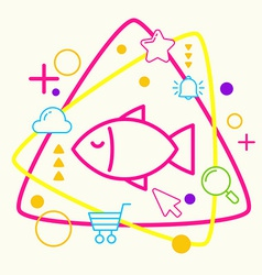 Fish on abstract colorful geometric light vector