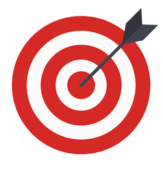 Flat icon design target with arrow goal achieve vector