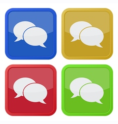 four square icons with speech bubbles vector image
