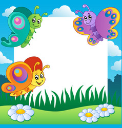 frame with butterflies theme 1 vector image