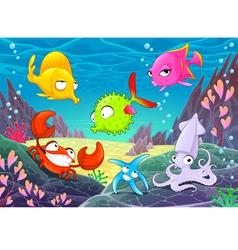 Funny happy animals under sea vector