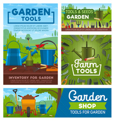 Gardening and farming tools garden instruments vector