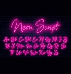Glowing neon script alphabet neon font with vector