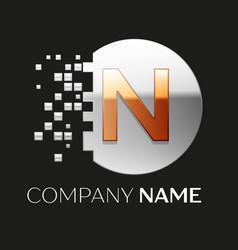 Golden letter n logo symbol in silver pixel circle vector