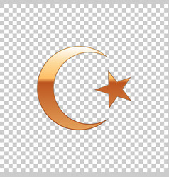 golden star and crescent symbol of islam isolated vector image