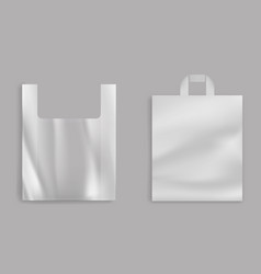 grocery shop plastic bags 3d realistic vector image