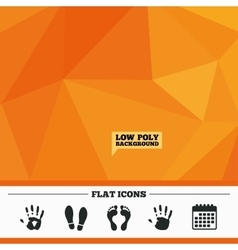 Hand and foot print icons Imprint shoes symbol vector