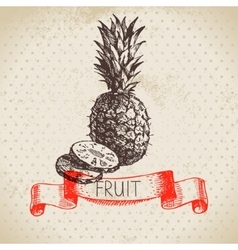 Hand drawn sketch fruit pineapple Eco food vector
