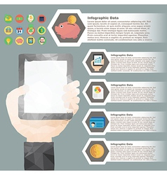 Hand hold tablet polygon infographic for financial vector