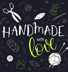 Handmade with love artistic background vector